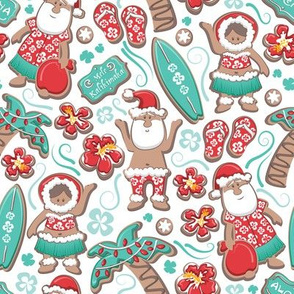 Mele Kalikimaka Hawaiian Christmas gingerbread cookies // white background