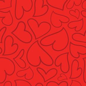 Swoon Hearts - XsOs_DkRedWithRedBG_HandDrawnHearts_seaml_Stock