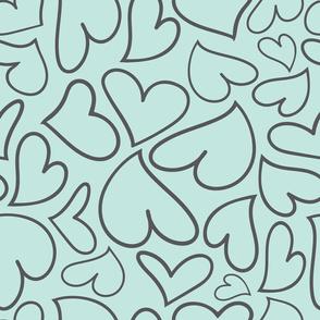 Swoon Hearts - XsOs_GrayWithBlueBG_HandDrawnHearts_seaml_Stock
