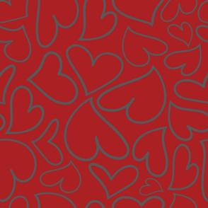 Swoon Hearts - XsOs_GrayWithDkRedBG_HandDrawnHearts_seaml_Stock