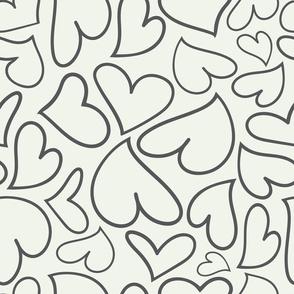 Swoon Hearts - XsOs_GrayWithOffWhtBG_HandDrawnHearts_seaml_Stock