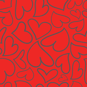 Swoon Hearts - XsOs_GrayWithRedBG_HandDrawnHearts_seaml_Stock