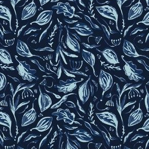 Falling Leaves Indigo Faded Denim Batik