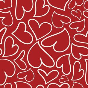 Swoon Hearts - XsOs_OffWhtWithDkRedBG_HandDrawnHearts_seaml_Stock
