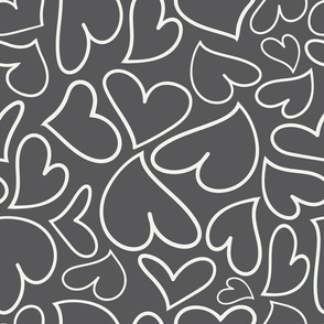 Swoon Hearts - XsOs_OffWhtWithGrayBG_HandDrawnHearts_seaml_Stock