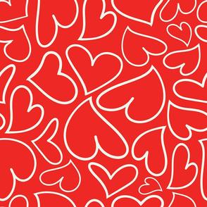 Swoon Hearts - XsOs_OffWhtWithRedBG_HandDrawnHearts_seaml_Stock