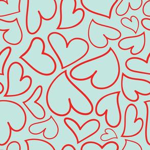 Swoon Hearts - XsOs_RedWithBlueBG_HandDrawnHearts_seaml_Stock
