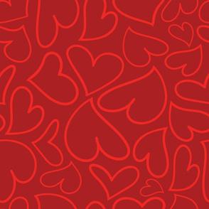 Swoon Hearts - XsOs_RedWithDkRedBG_HandDrawnHearts_seaml_Stock