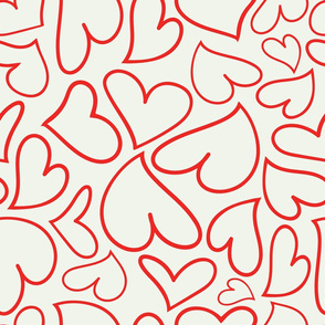 Swoon Hearts - XsOs_RedWithOffWhtBG_HandDrawnHearts_seaml_Stock
