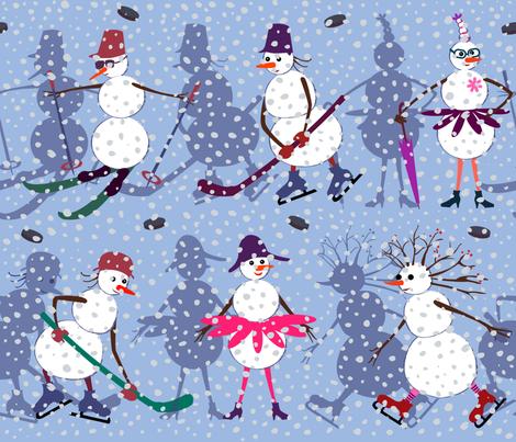 Active snowmen fabric by inna_alborova on Spoonflower - custom fabric
