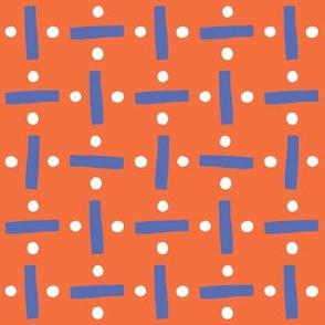Modern Block Print - Orange & Blue