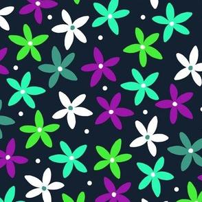 Simple Scandinavian Folk Art Floral Pattern   Green & Purple