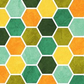 Geometric Beehive Pattern - Green & Orange