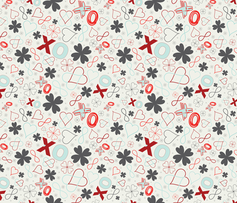 Graffiti - XsOs_OffWhiteRedLtBlue_Orig_seaml_stock fabric by tinshanty on Spoonflower - custom fabric