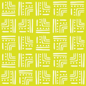 Abstract Tribal Block Pattern   Green & White