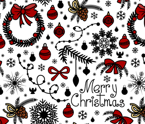 Christmas doodles  fabric by elinorka on Spoonflower - custom fabric
