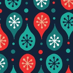 Folk Art Festive Pattern - Blue & Red