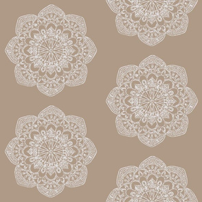 white medallion on beige tan khaki block print