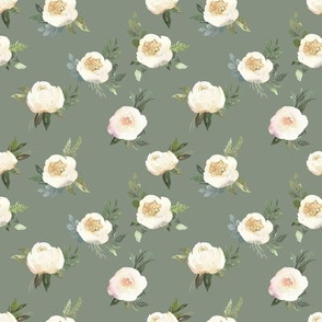 "4"" Dusty White Florals // Olive Gray"
