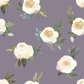 "8"" Dusty White Florals // Mamba Purple"