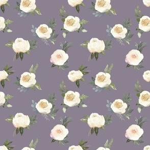 "4"" Dusty White Florals // Mamba Purple"