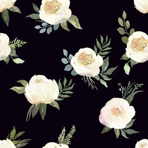 "8"" Dusty White Florals // Black"