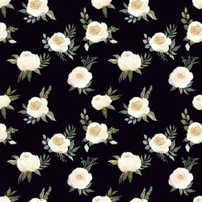 "4"" Dusty White Florals // Black"