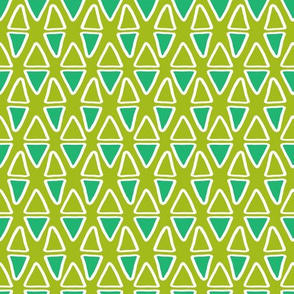 Little Abstract Triangles   Green & Turquoise