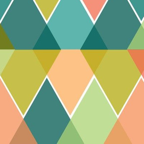 Reflected Triangles Geometric Pattern - Pink, Green & Turquoise