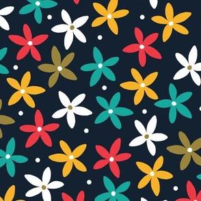 Simple Scandinavian Folk Art Floral Pattern   Multicolored