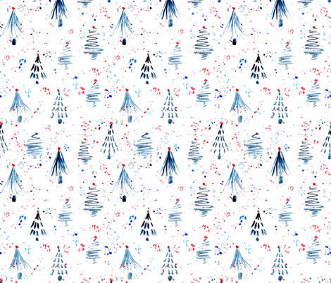 Firs and confetti on the snow - Russian style xmas, watercolor fabric by katerinaizotova on Spoonflower - custom fabric