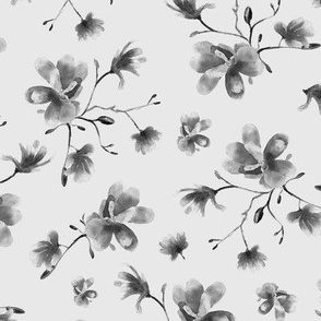 Silver grey magnolia pattern || watercolor florals