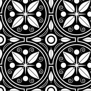 Mid Century Botanical Leaf Circle Pattern