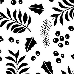 Botanical christmas garden pine leaves holly branch monochrome black JUMBO