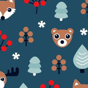 Winter wonderland Christmas woodland animals moose fox wolf and bear kids canada night theme boys LARGE