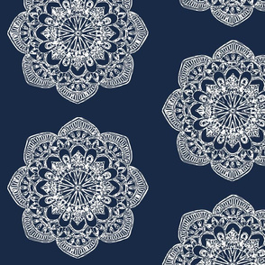 white medallion on navy block print circles