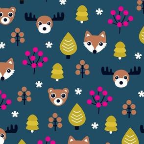 Winter wonderland Christmas woodland animals moose fox wolf and bear kids canada night theme girls
