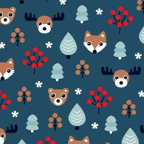 Winter wonderland Christmas woodland animals moose fox wolf and bear kids canada christmas night theme boys
