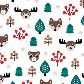 Winter wonderland Christmas woodland animals moose fox wolf and bear kids canada theme boys white blue