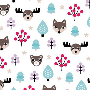 Winter wonderland Christmas woodland animals moose fox wolf and bear kids canada theme girls lilac pink