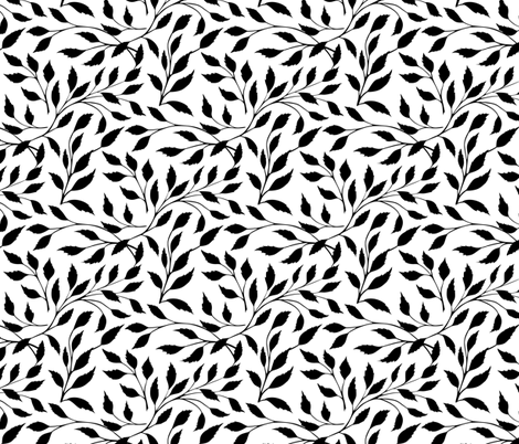 leaves_pattern_bw fabric by liliya_sudakova on Spoonflower - custom fabric