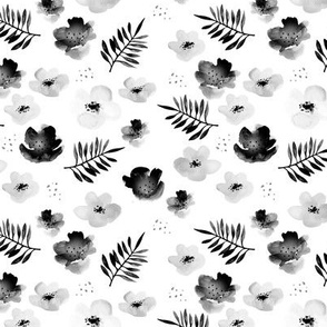 Botanical garden watercolors summer palm leaves and cherry flowers blossom  monochrome black and white