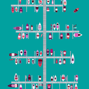 Boat Dock in Red Pinks on Aqua