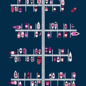 Boat Docks in Red Pinks on Navy