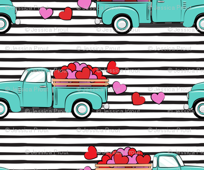aqua vintage truck with hearts - valentines day - black stripes