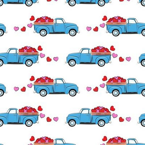 blue vintage truck with hearts - valentines day - white