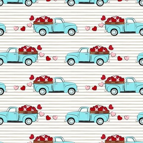 light blue vintage truck with hearts - valentines day - grey stripes
