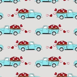 light blue vintage truck with hearts - valentines day - grey