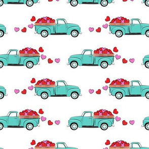 aqua vintage truck with hearts - valentines day - white