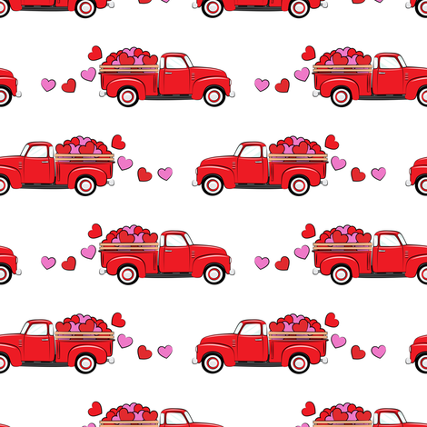 red vintage truck with hearts - valentines day - white fabric by littlearrowdesign on Spoonflower - custom fabric